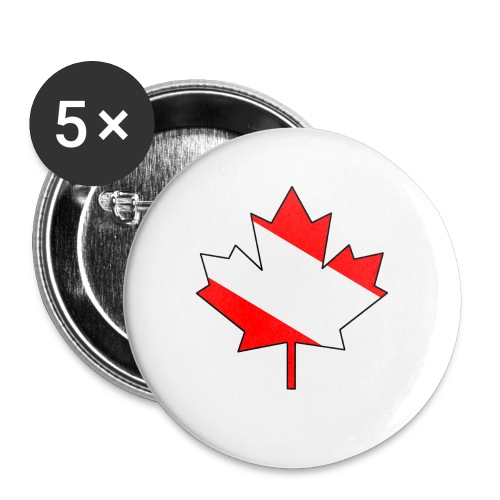 Maple Leaf with white infill and outline - Buttons small 1'' (5-pack)