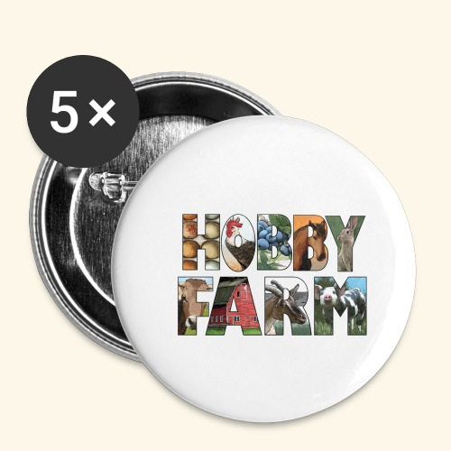 Island Hobby Farm White Logo - Buttons small 1'' (5-pack)