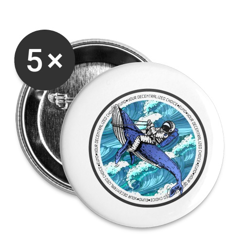 Astronaut Whale - Buttons small 1'' (5-pack)