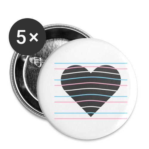 Trans Heart - Buttons small 1'' (5-pack)