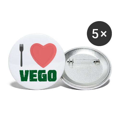 I love Vego - Clothes for vegetarians - Buttons small 1'' (5-pack)