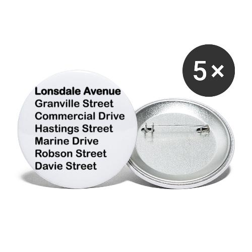 Street Names Black Text - Buttons small 1'' (5-pack)