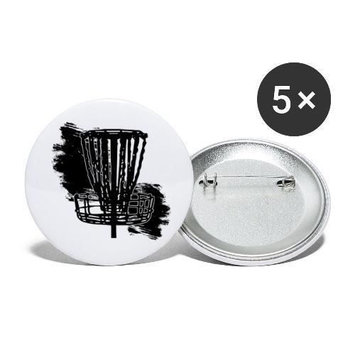 Disc Golf Basket Paint Black Print - Buttons small 1'' (5-pack)
