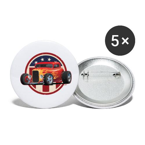 Vintage American 32 Hot Rod Coupe Car Illustration - Buttons small 1'' (5-pack)