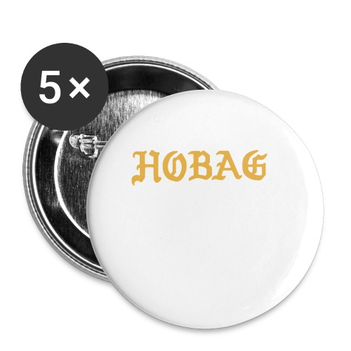 BLACK - HOBAG LETTERING - Buttons small 1'' (5-pack)