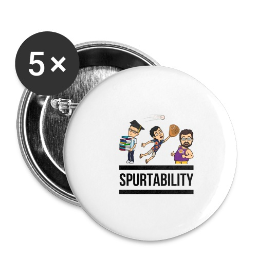 Spurtability Black Text - Buttons small 1'' (5-pack)