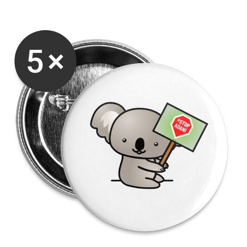 Koala Holding Stop Adani Sign - Accessories - Buttons small 1'' (5-pack)