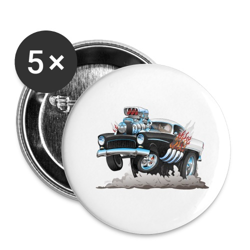 Classic '55 Hot Rod Funny Car Cartoon - Small Buttons