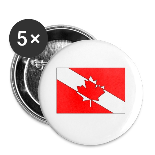 Canadian Diver Flag Red, White and Black Outline - Buttons small 1'' (5-pack)