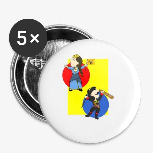 Cartoon - Pontios/lyra & Pontia/flag - Buttons small 1'' (5-pack)