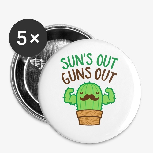 Sun's Out Guns Out Macho Cactus - Buttons small 1'' (5-pack)