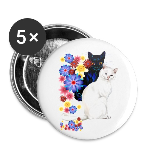 Black and White Garden Kitties.. - Buttons small 1'' (5-pack)