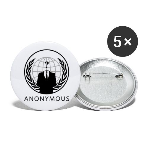 Anonymous 1 - Black - Buttons small 1'' (5-pack)