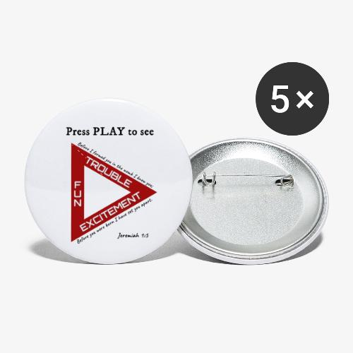 Press PLAY to See - Buttons small 1'' (5-pack)