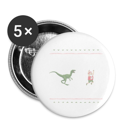 Ugly Christmas Sweater Running Dino and Santa - Buttons small 1'' (5-pack)