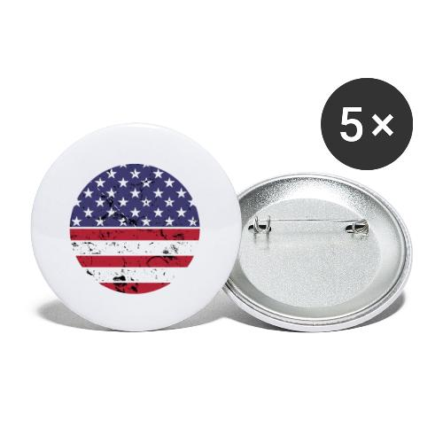 American flag full circle red white blue - Buttons small 1'' (5-pack)