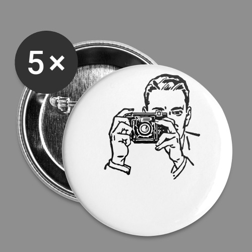 camera clipart black and white man with a camera b - Buttons small 1'' (5-pack)