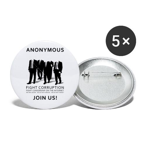 Anonymous 3 - Black - Buttons small 1'' (5-pack)