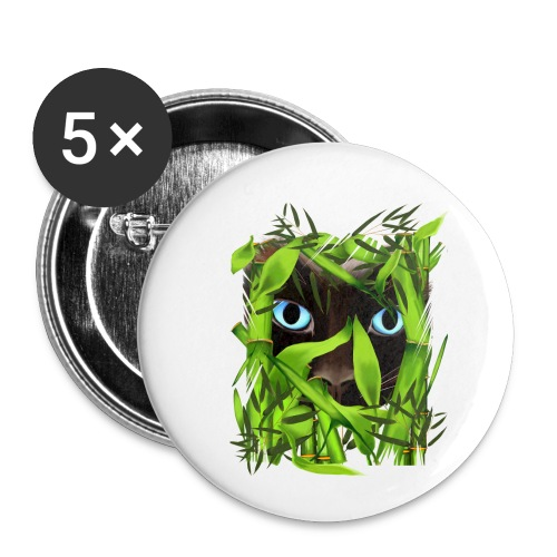 Siamese Cat Eyes in Bambo - Buttons small 1'' (5-pack)