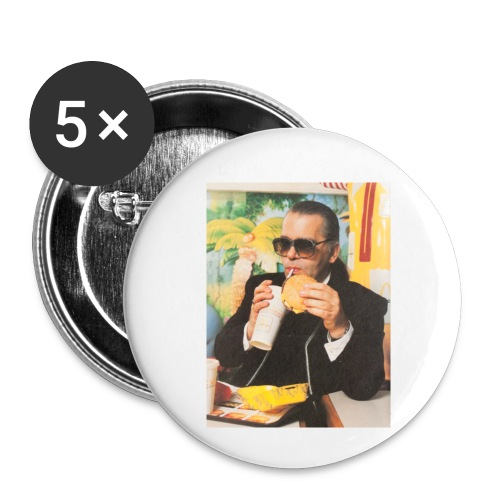 Karl Lagerfeld Eating a McDonald's Cheeseburger - Buttons small 1'' (5-pack)