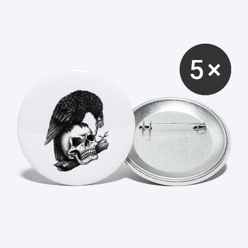 Skull Crow - Buttons small 1'' (5-pack)