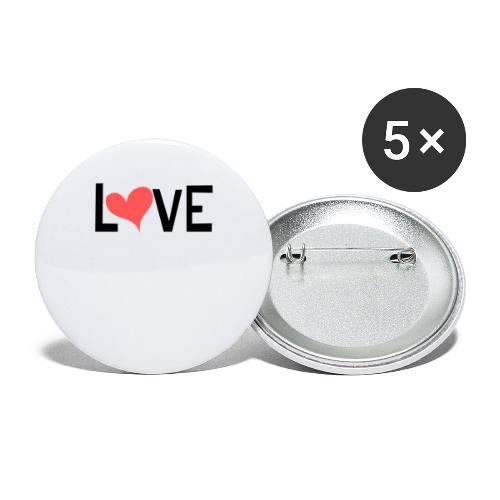 LOVE heart - Buttons small 1'' (5-pack)