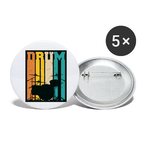 Retro Drum Set Silhouette Illustration - Buttons small 1'' (5-pack)