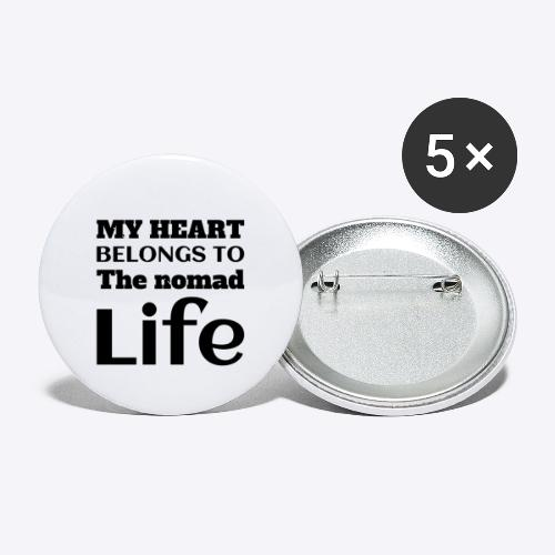 My Heart Belongs to the nomad Life-Dark - Buttons small 1'' (5-pack)