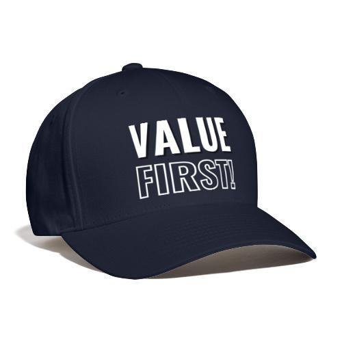 Value First Design - White Text - Baseball Cap