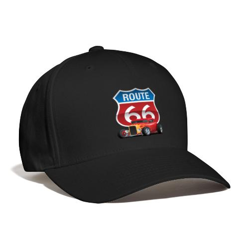Route 66 Sign with Classic American Red Hotrod - Baseball Cap