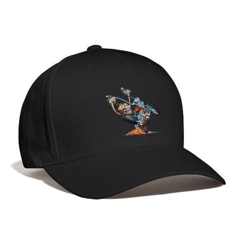 Funny biker riding a chopper cartoon - Baseball Cap