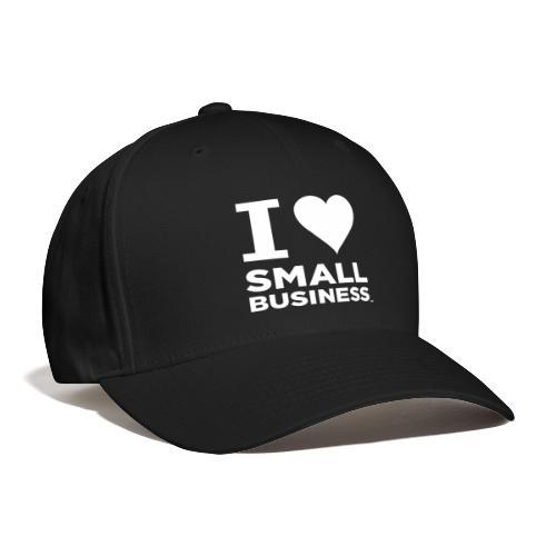 I Heart Small Business Logo (All White) - Baseball Cap