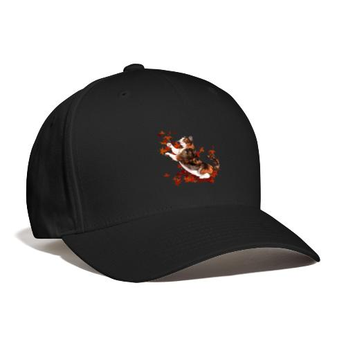 Autumn Cat - cat playing with autumn leaves - Baseball Cap