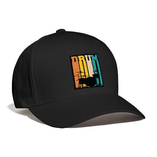 Retro Drum Set Silhouette Illustration - Baseball Cap