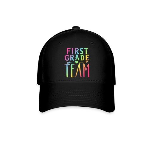 First Grade Team Neon Rainbow Teacher T-Shirts - Baseball Cap