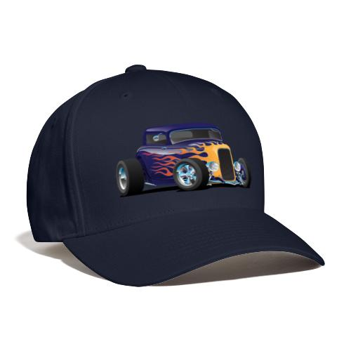 Vintage Hot Rod Car with Classic Flames - Baseball Cap