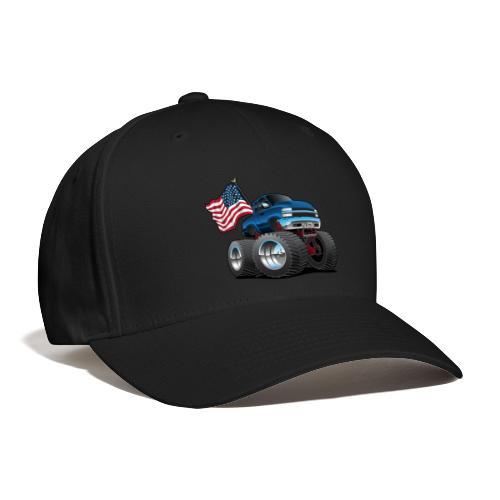 Monster Pickup Truck with USA Flag Cartoon - Baseball Cap