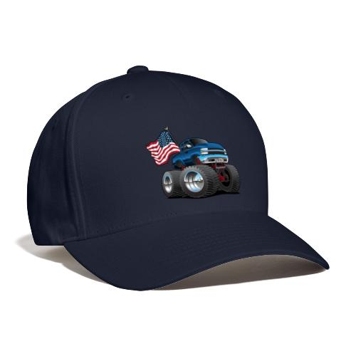 Monster Pickup Truck with USA Flag Cartoon - Baseball Cap