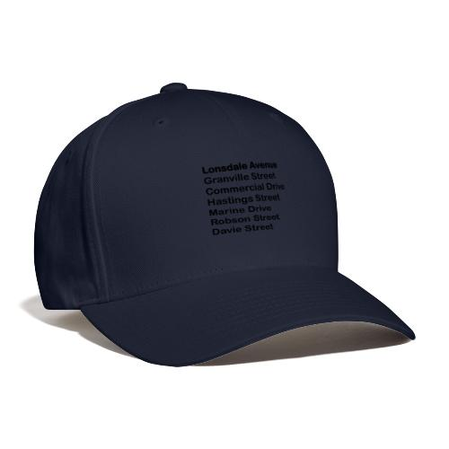 Street Names Black Text - Baseball Cap