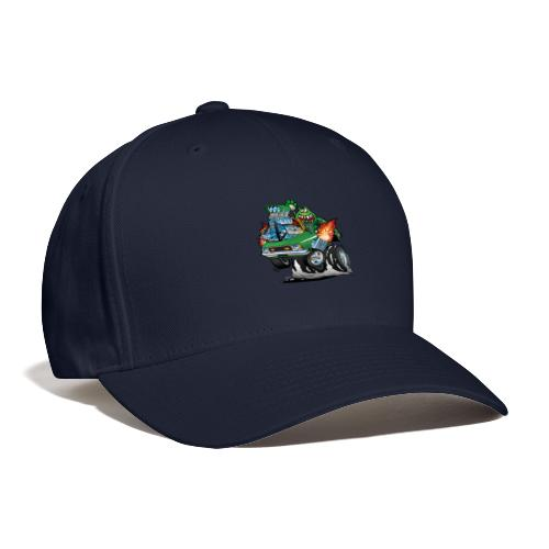Seventies Green Hot Rod Funny Car Cartoon - Baseball Cap