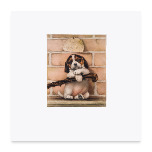 Antique Puppy Dog Print - Poster 24x24