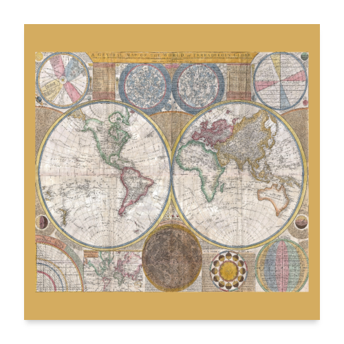 Antique World Map Globe Print - Poster 24x24