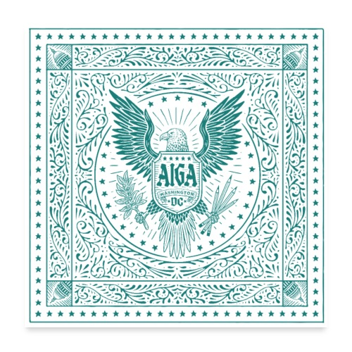 AIGA DC Stamp of Approval (teal) - Poster 24x24