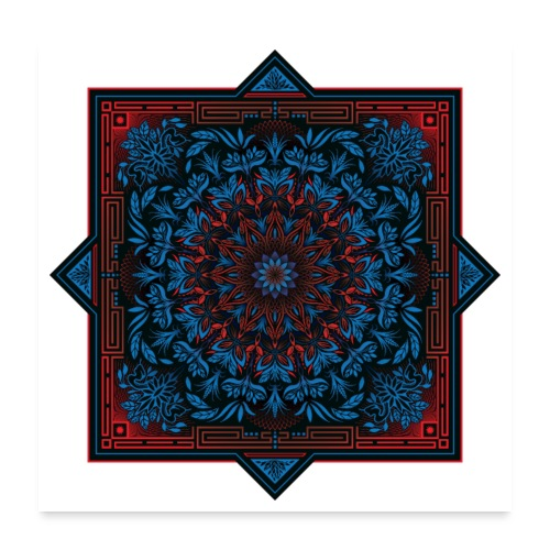 Red Blue Psychedelic Mandala Geometric Design - Poster 24x24