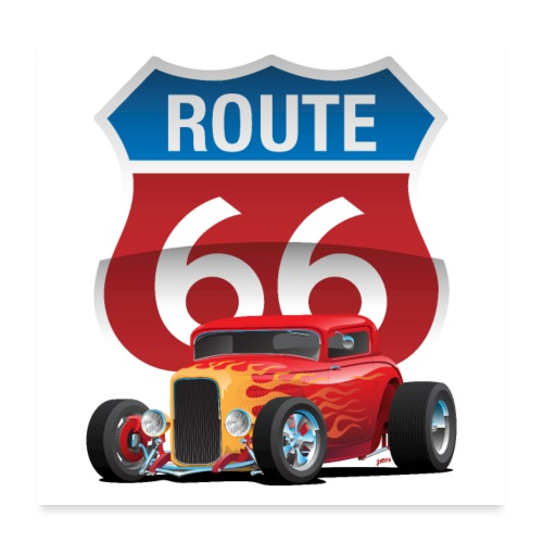 Route 66 Sign with Classic American Red Hotrod - Poster 24x24