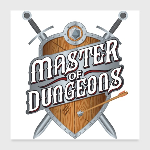 master of dungeons shield and swords fantasy gift - Poster 24x24