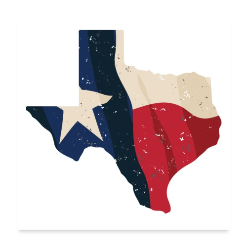 Texas with Flag Overlay - Poster 24x24
