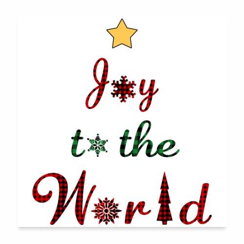 Joy to the world Christmas Tree Star Holiday Plaid - Poster 24x24