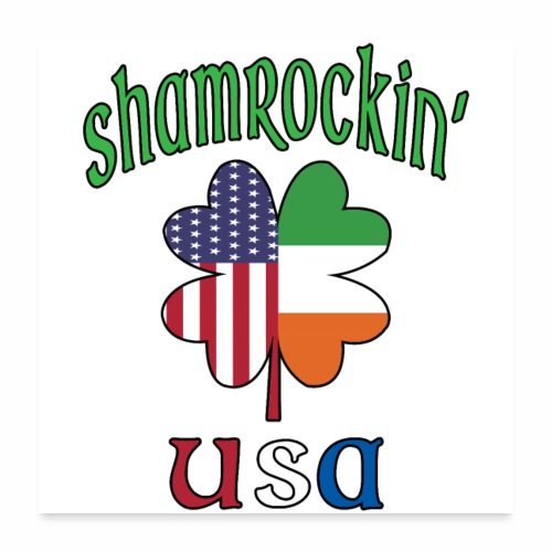 Shamrock USA Good Luck Four Leaf Clover St Paddy's - Poster 24x24