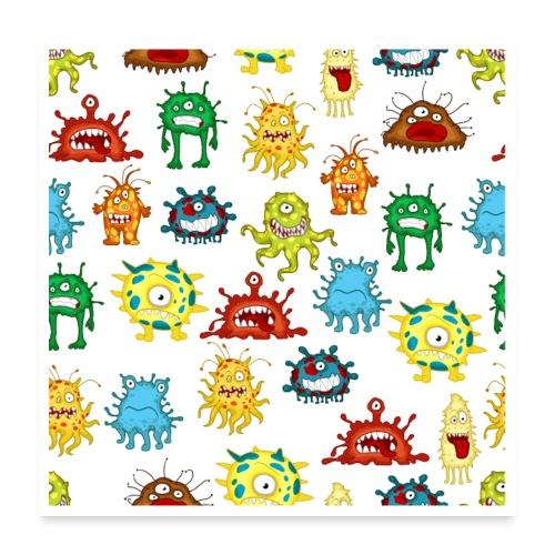 Cartoon Coronavirus COVID-19 Seamless Pattern - Poster 24x24